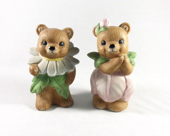 Vintage Cute Homco Flower Bears #8768