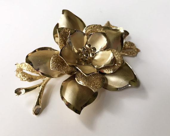 Vintage Coro Rose Brooch, Gold Tone, Two Textures
