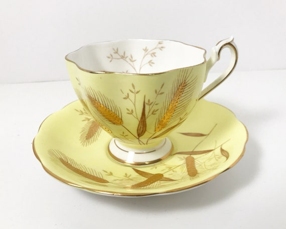 Vintage Queen Anne Fine Bone China Tea Cup and Saucer - Yellow with Gold Gilt Wheat Sheaves