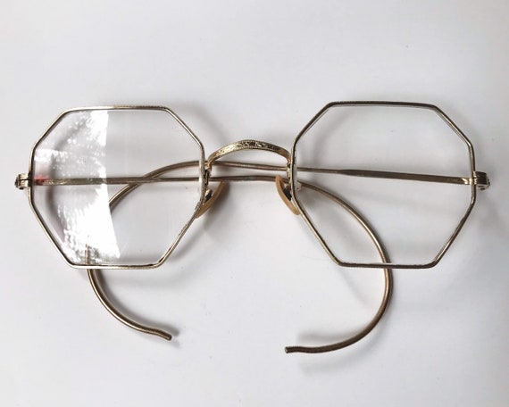 Antique Spectacles Bausch and Lomb Octagonal Eyeglasses B & L 1/10 12K GF