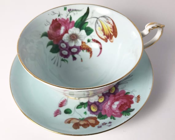 Paragon Bone China Teacup and Saucer - Double Warrant - Royal Warrant - Off Center Floral Pattern on Robin's Egg Blue