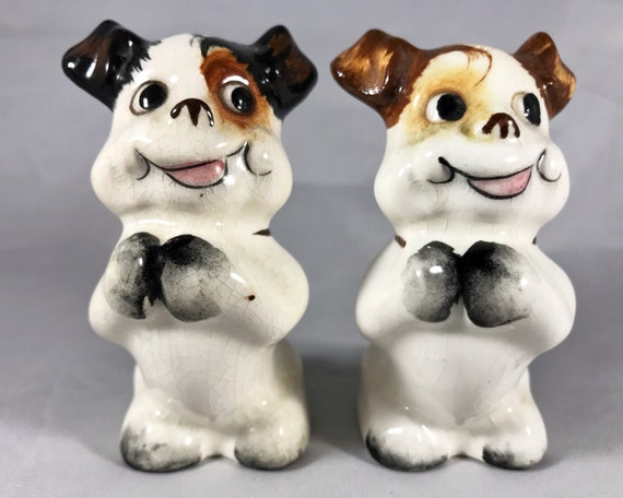 Goofy Dog Shakers - Vintage Made in Japan Novelty Salt and Pepper Shakers - Two Cute Pups