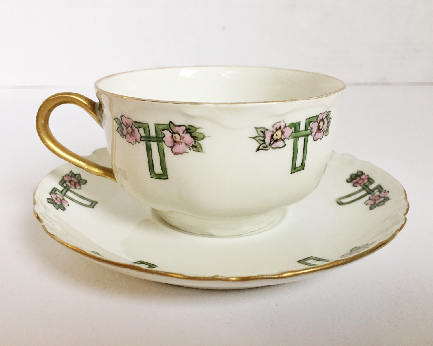 Charming Haviland Limoges Teacup And Saucer Hand Painted Haviland