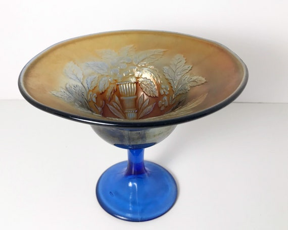 Antique Carnival Glass - Fenton Peacock and Urn Carnival Glass in Blue and Gold