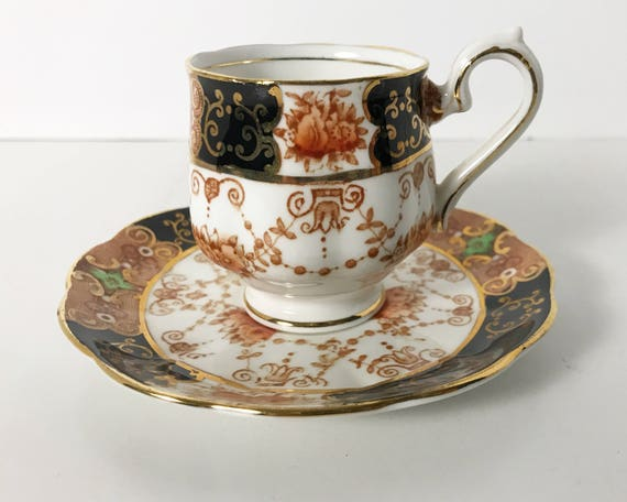 Antique Royal Albert Demitasse and Saucer - Russet, Black & Gold Garland Unnamed Pattern - Hampton Shape Cup - English Fine Bone China