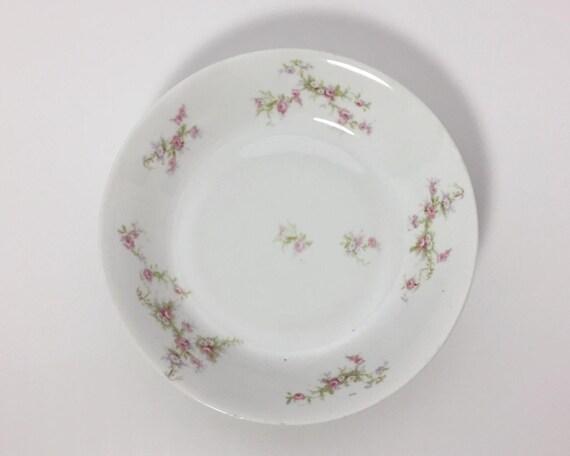 Vintage L. Bernardaud & Co Limoges Coupe Soup Bowl - White Paste Porcelain with Pink Roses - Pattern BER114