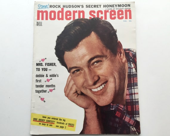 Modern Screen Magazine February 1956 - Cover Rock Hudson - Vintage Movie Magazine - Inside Kim Novak & Marlon Brando