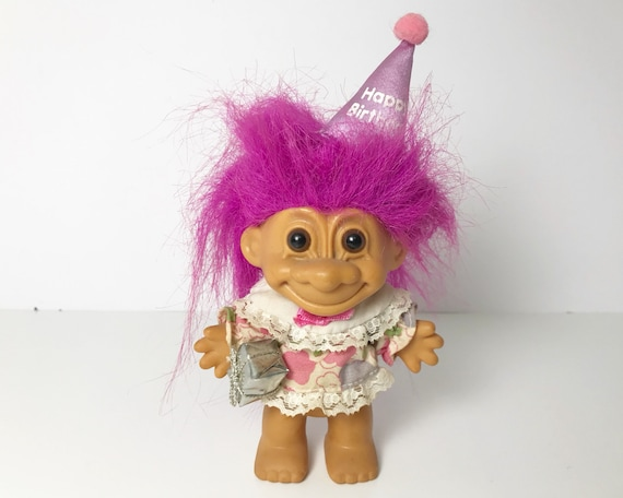 Vintage Russ Troll Doll - Birthday Troll with Hat and Gift - Magenta Hair