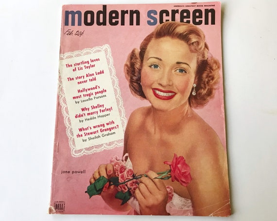 Modern Screen Magazine February 1952 - Cover Jane Powell - Inside Elizabeth Taylor, Clark Gable, Alan Ladd, Tony Curtis and Judy Garland