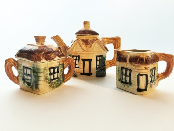 Cottage Ware Tea Set - Made in Japan - Cottageware Teapot, Creamer, and Sugar Bowl - 2 Cup Small Size - Adorable!