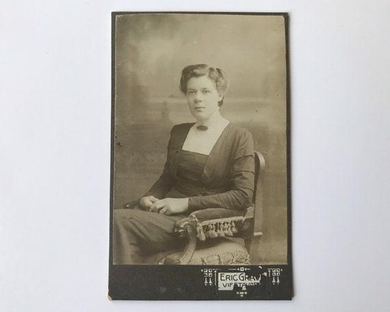 Antique Carte de Visite Swedish CDV Photograph of Later Victorian or Edwardian Woman from Vifstavart, Sweden