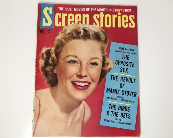 Screen Stories Magazine May 1956 - Cover June Allyson - Vintage Movie Magazine - Inside Humphrey Bogart, James Dean & Leslie Caron