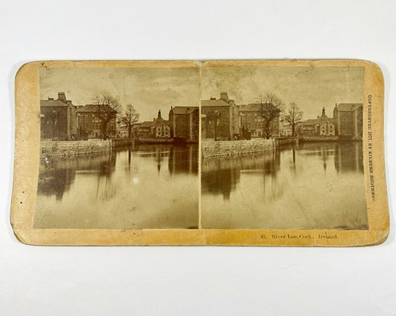 Antique B. W. Kilburn Brothers Stereoview - River Lee, Cork, Ireland, Copyright 1877