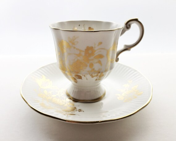 Vintage Rosina English Bone China Teacup and Saucer - Pretty Gold Floral Pattern - English China - Staffordshire Pottery