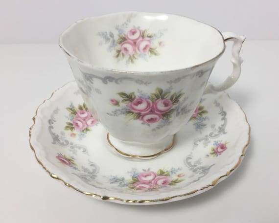 Vintage Royal Albert Tranquillity Bone China Teacup and Saucer - Pink Rose Buds with Grey Scrolls - Gainsborough Shape