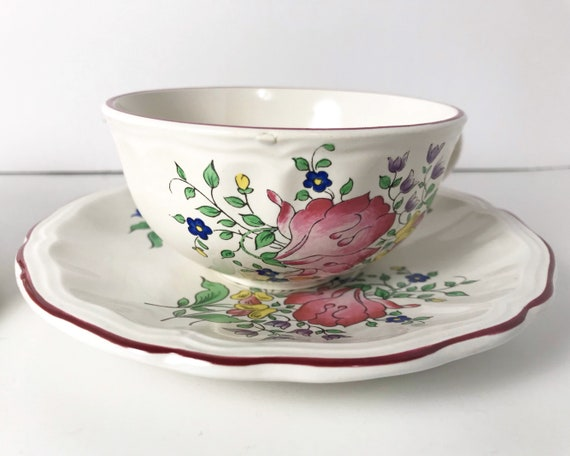 """Antique French Faience - Luneville """"Old Strasbourg"""" Cup and Saucer - Country Cottage Style"""
