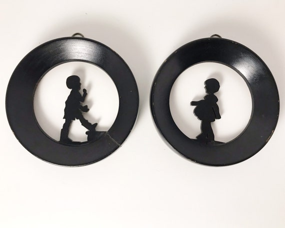 Pair of Small Wooden Silhouettes of Boy and Girl - Vintage Wall Decor