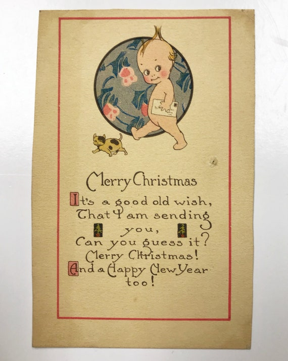 Kewpie Doll Merry Christmas Card - Antique Christmas Postcard - After Rose O'Neill