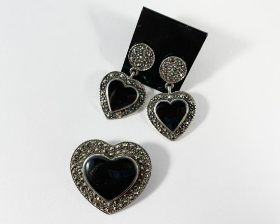 Sterling Silver Black Onyx Marcasite Heart Brooch and Earring Set