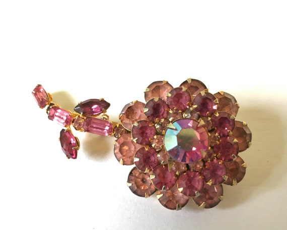 Vintage Judy Lee Signed Jewelry Brooch - Gorgeous Mid Century Pink Rhinestone Flower Pin