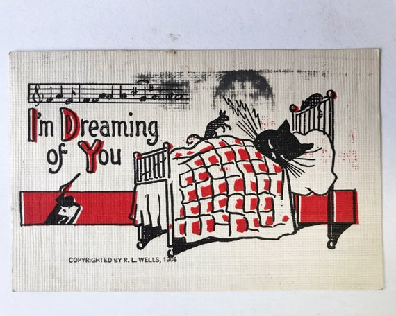 "Antique Postcard - ""I'm Dreaming of You"" Sleeping Cat with Mice Playing R. L. Wells 1906 Post Card"