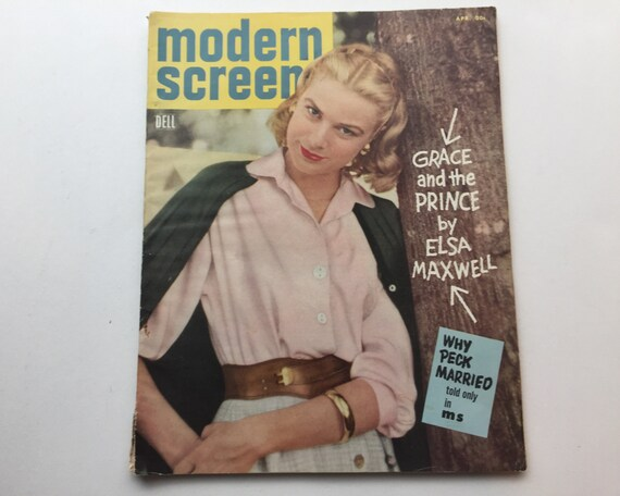 Modern Screen Magazine April 1956 - Cover Grace Kelly - Vintage Movie Magazine - Inside Charleton Heston & Gregory Peck