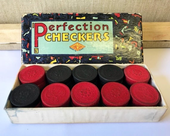 Vintage Wooden Halsam Perfection Checkers c. 1940s