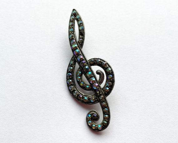 Vintage 1940s Iridescent Diamante Treble Clef Brooch