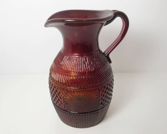 Clevenger Three Mold Blown Glass Pitcher in Ruby or Red Orange