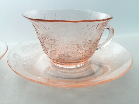 Set of Two Cups and Saucers - Vintage Pink Depression Glass - Macbeth Evans Glass Company Dogwood Pattern - Wild Rose - Apple Blossom