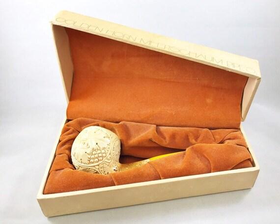 Vintage Hand Carved Golden Horn Meerschaum Pipe in Case from Turkey - Grape Leaf Pattern