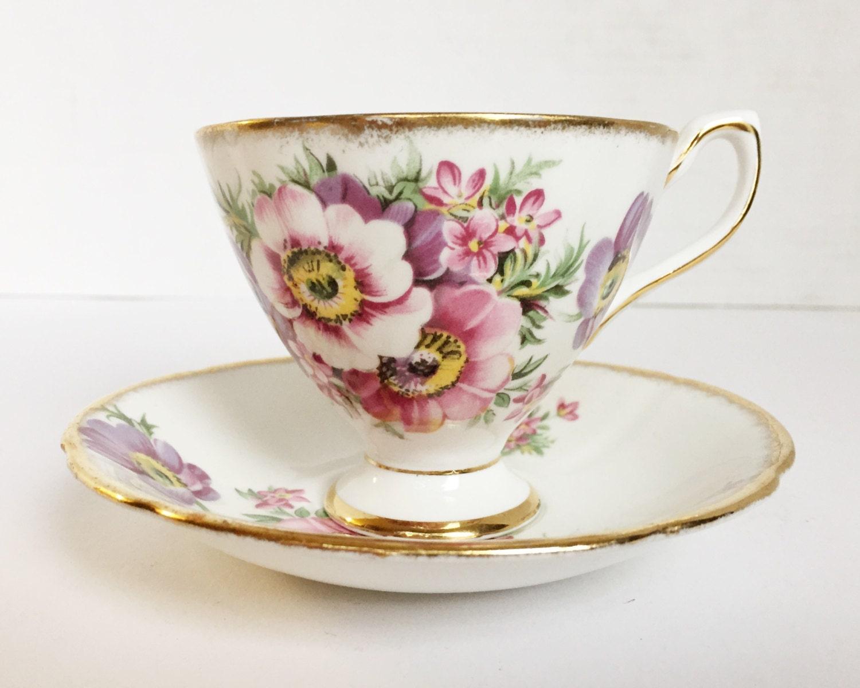 Vintage Taylor & Kent Bone China Teacup and Saucer - Bold