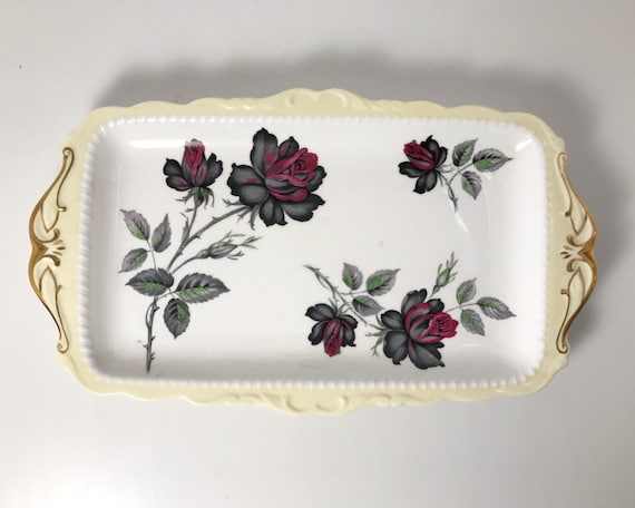 "Vintage Royal Albert ""Masquerade"" Handled Snack Platter with Black Roses"