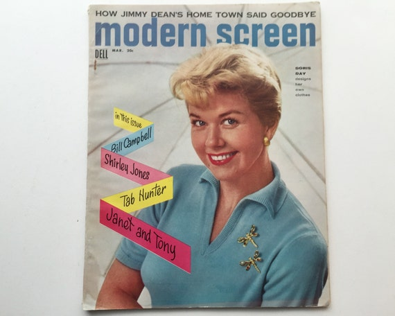Modern Screen Magazine March 1956 - Cover Doris Day - Vintage Movie Magazine - Inside James Dean & Joan Collins