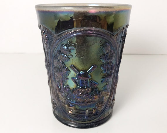 Vintage Imperial Glass Windmill Tumbler - Smoke Carnival Glass