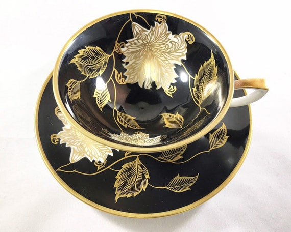 Antique Schumann Arzberg Bavaria Teacup and Saucer - Mid Century Black & Gold Floral