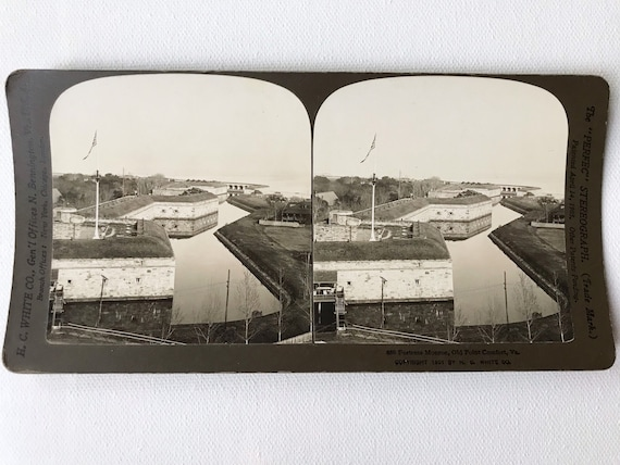 Antique H. C. White Stereoview - Fortress Monroe, Old Point Comfort, VA - Fort Monroe Moat