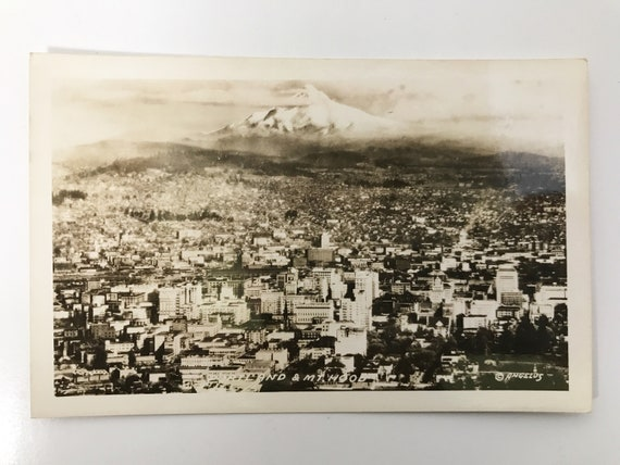 EKC Real Photo Post Card of Portland & Mt. Hood