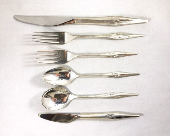 """Wallace Sterling """"Dawn Mist"""" Mid Century Modern Sterling Silver Flatware Set Service for Eight in Wood Box - 39 Pieces!"""