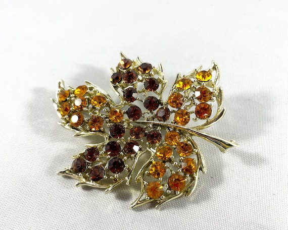 Vintage Rhinestone Brown Autumn Leaf Brooch