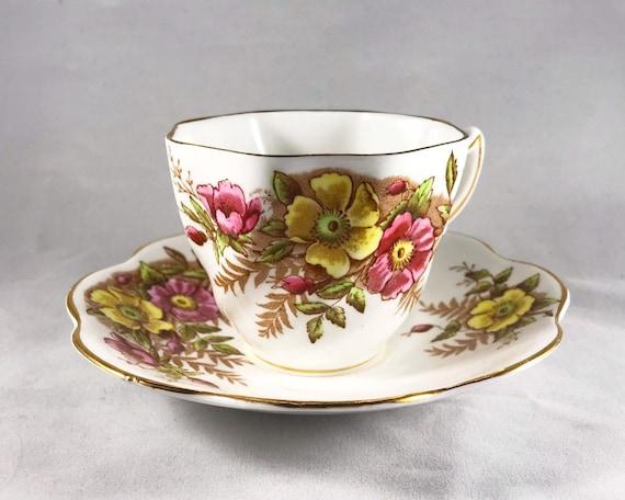 Vintage Rosina English Bone China Teacup and Saucer - Wild Roses