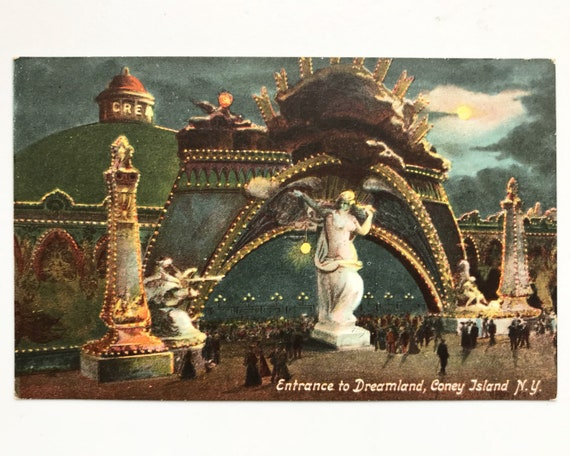 Set of Nine Night Time Scenes of Coney Island Post Cards - Antique Postcards - Including Dreamland & Illuminations
