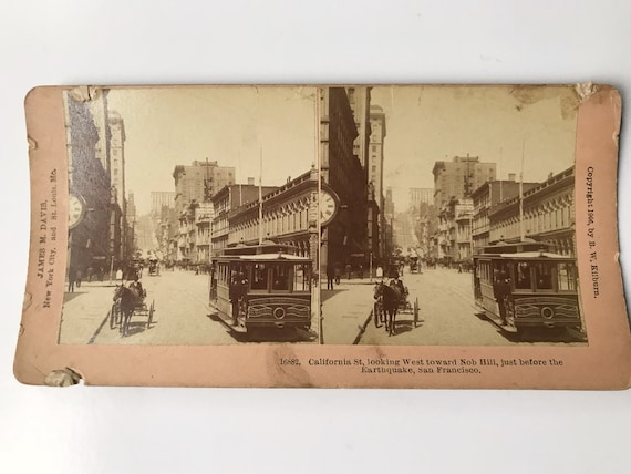Antique B. W. Kilburn Stereoview - California Street, San Francisco, Looking toward Nob Hill - James M. Davis - Copyright 1906