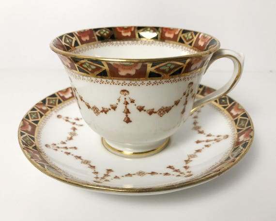 Antique Royal Albert Teacup and Saucer - Russet, Black & Gold Garland Unnamed Pattern - Older Countess Shape Cup - English Fine Bone China