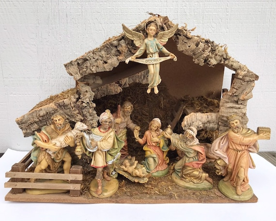 Large Vintage Italian Nativity Set - Christmas - Birth of Jesus - Music Box Creche - Silent Night
