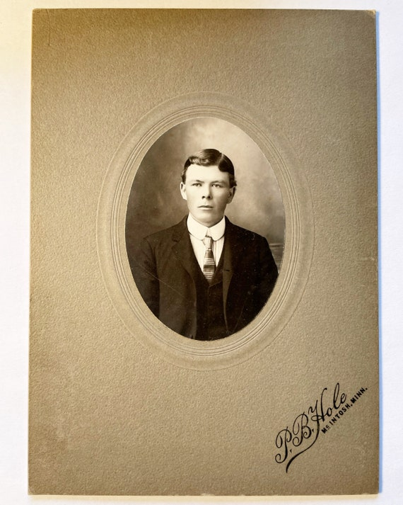 Antique Photograph Oval Portrait of Handsome Young Man, Photo by P. B. Hole of McIntosh, Minnesota