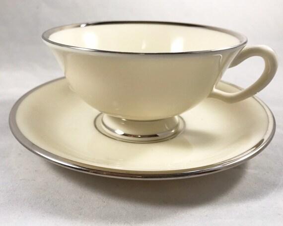 Vintage Lenox China - Montclair Platinum Footed Tea Cup and Saucer