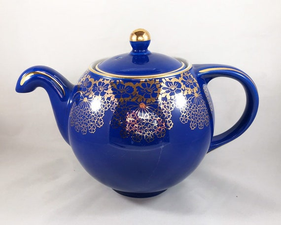 Vintage Hall Teapot - 6 Cup in Cobalt Blue with Gold Floral Pattern