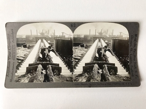 """Antique Keystone View Company Stereoview """"Modern Pig Iron Machine at rest, Pittsburgh, PA"""""""