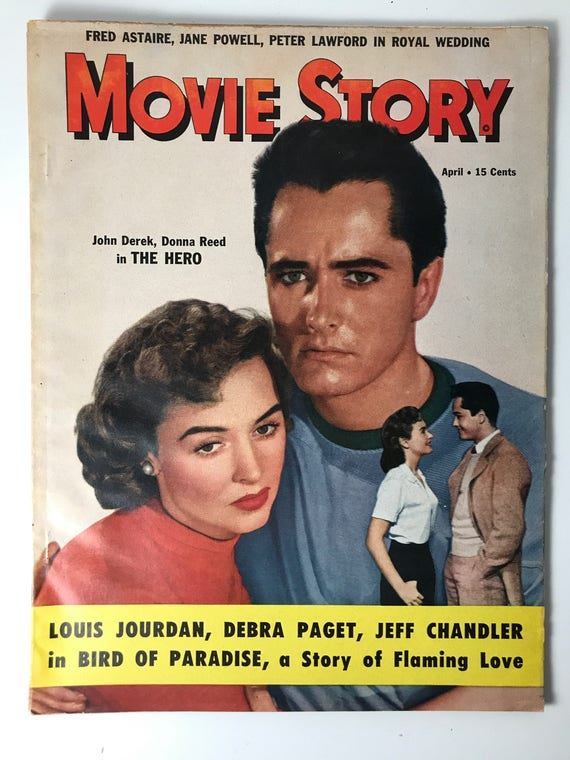 Vintage Movie Story Magazine December 1951 - Cover John Derek and Donna Reed - Fred Astaire, Jane Powell, Rudolph Valentino & Louis Jourdan